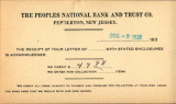 Buzby's General Store Collection: The Peoples National Bank and Trust Company Postcard December 5, 1938