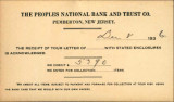 Buzby's General Store Collection: The Peoples National Bank and Trust Company Postcard December 8, 1936