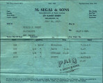 m segal sons invoice [7-27-1937] 1