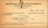 Buzby's General Store Collection: The Peoples National Bank and Trust Company Postcard December 22, 1936